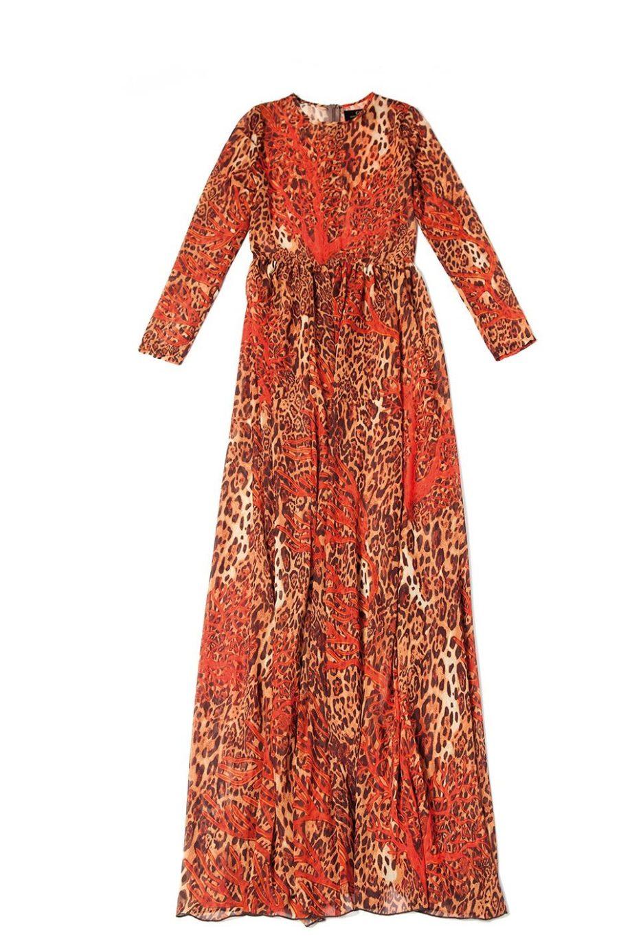 CORAL CHEETAH DRESS