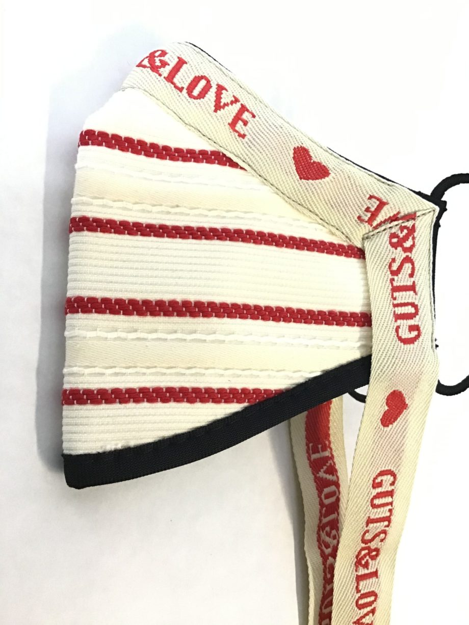 RED STRIPED MASK WITH RIBBON