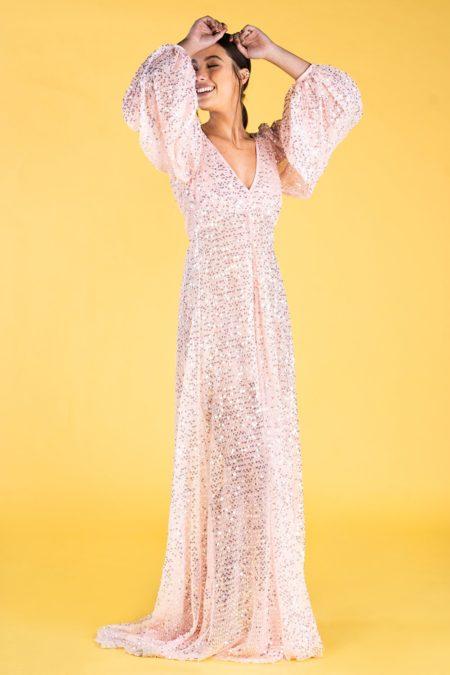 Guts and love. Vestido largo Pink emotions de la colección primavera verano 2020 Underneath the star