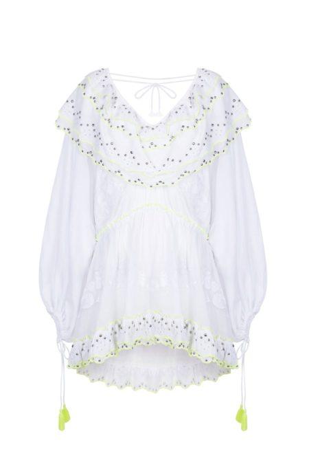 Guts and love. Silueta del vestido corto de color blanco Ruffle me more de la colección primavera verano 2020 Underneath the star