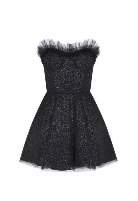Guts and love. Silueta del vestido corto de color negro Sparkle dust de la colección primavera verano 2020 Underneath the star