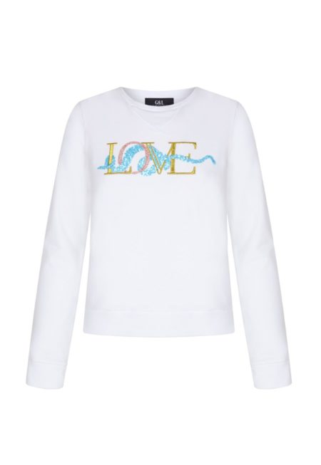 Guts and love. Silueta de la sudadera de color blanco Underneath love sweatshirt de la colección primavera verano 2020 Underneath the star