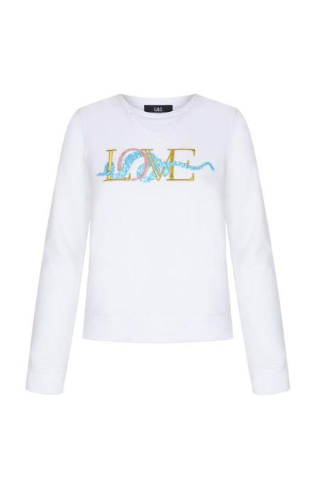 Guts and love. Silueta de la sudadera de color blanco Underneath love sweatshirt de la colección primavera verano 2020 Underneath the star